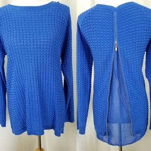 Peck & Peck size Large Zip Open Back Sweater Blue